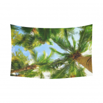 InterestPrint Blue Sky Leaves Palm Tree Tapestry Wall Hanging Tropical Tree Island Beach Wall Decor Art for Living Room Bedroom Dorm Cotton Linen Decoration