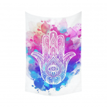 InterestPrint Colorful Watercolor Buddha Hamsa Hand Tapestry Wall Hanging Indian Ethnic Blue Purple Wall Decor Art for Living Room Bedroom Dorm Cotton Linen Decoration