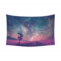 InterestPrint Night Sky Lonely Tree Tapestry Wall Hanging Galaxy Nebula Stars Outer Space Celestial Wall Decor Art for Living Room Bedroom Dorm Cotton Linen Decoration