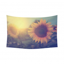 InterestPrint Beautiful Sunset Retro Yellow Sunflower Tapestry Wall Hanging Vintage Flower Landscape Wall Decor Art for Living Room Bedroom Dorm Cotton Linen Decoration