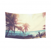 InterestPrint Tropical Palm Coconut Tree Nature Sea Ocean Hawaii Beach Scenic Tapestry Wall Hanging Summer Paradise Wall Decor Art for Living Room Bedroom Dorm Cotton Linen Decoration