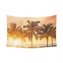 Interestprint Tropical Coconut Palm Tree Beach Sea Ocean Hawaii Scenic Tapestry Wall Hanging Sunset Sky Wall Decor Art for Living Room Bedroom Dorm Cotton Linen Decoration