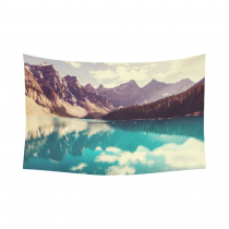 InterestPrint Beautiful Moraine Mountain Water Lake Tapestry Wall Hanging Nature Landscape Wall Decor Art for Living Room Bedroom Dorm Cotton Linen Decoration