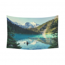 InterestPrint Canada Beautiful Joffre Mountain Lake Tapestry Wall Hanging Valley Landscape Wall Decor Art for Living Room Bedroom Dorm Cotton Linen Decoration