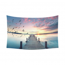 InterestPrint Bird Sunrise Wood Bridge Way Pier Lake Tapestry Wall Hanging Cloud Sunset Landscape Wall Decor Art for Living Room Bedroom Dorm Cotton Linen Decoration