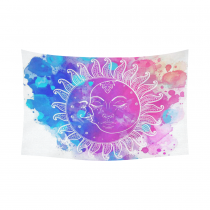 Interestprint Colorful Watercolor Sun Moon Stars Tapestry Wall Hanging Hippie Boho Wall Decor Art for Living Room Bedroom Dorm Cotton Linen Decoration