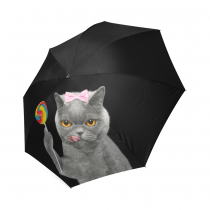 InterestPrint Hipster Cat Eating Lollipop Candy Black Foldable Travel Rain Umbrella