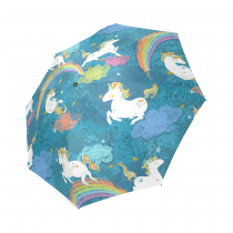 InterestPrint Cute Baby Unicorns Birthday Gift Blue Foldable Travel Rain Umbrella