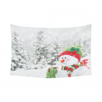 InterestPrint Cute Snowman Winter Merry Christmas Tapestry Horizontal Wall Hanging Snow Landscape Wall Decor Art for Living Room Bedroom Dorm Cotton Linen Decoration