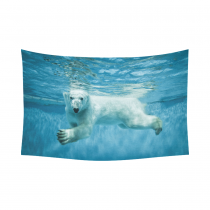InterestPrint White Polar Bear Tapestry Horizontal Wall Hanging Wild Animal Underwater Wall Decor Art for Living Room Bedroom Dorm Cotton Linen Decoration