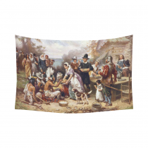 InterestPrint Vintage The First Thanksgiving at Plymouth Tapestry Horizontal Wall Hanging Oil Painting Wall Decor Art for Living Room Bedroom Dorm Cotton Linen Decoration