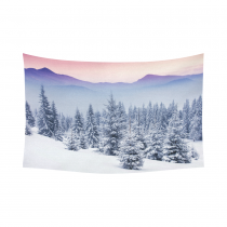Interestprint Snowy Mountain Tapestry Horizontal Wall Hanging Winter landscape Beauty World Wall Decor Art for Living Room Bedroom Dorm Cotton Linen Decoration