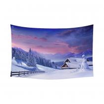 InterestPrint Snowy Mountain Tapestry Horizontal Wall Hanging Sunset Winter House in Snow Mountain Landscape Wall Decor Art for Living Room Bedroom Dorm Cotton Linen Decoration