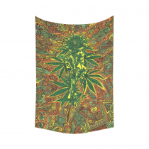 InterestPrint Cannabis Flowers Vintage Marijuana Tapestry Vertical Wall Hanging Psychedelic Wall Decor Art for Living Room Bedroom Dorm Cotton Linen Decoration
