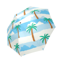 InterestPrint Stylish Palm Tree Hawaiian Beach Cloud Foldable Umbrella