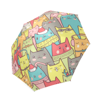InterestPrint Cat Kitten We Are All Mad Here Funny Waterproof Foldable Umbrella