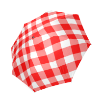 InterestPrint Stylish Red Plaid Foldable Umbrella