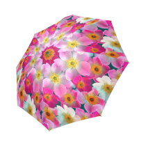 InterestPrint Stylish Pink Floral Print Foldable Travel Umbrella