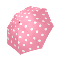 InterestPrint Stylish Pink and White Polka Dot Foldable Umbrella