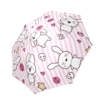InterestPrint Stylish Bunny Rabbit Love Pink Foldable Rain Umbrella