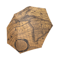 InterestPrint Vintage Steampunk Map of the World Fold Umbrella