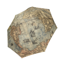 InterestPrint Stylish Vintage Steampunk Map of the World Fold Umbrella