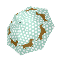 InterestPrint Stylish Polka Dots Dachshund Manual Fold Travel Umbrella