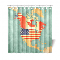 InterestPrint US Canada Map Custom Shower Curtain Polyester Fabric Bathroom Sets Home Decor