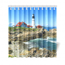 InterestPrint Lighthouse Ocean Custom Shower Curtain Polyester Fabric Bathroom Sets Home Decor