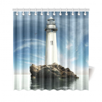 InterestPrint Lighthouse Island Custom Shower Curtain Polyester Fabric Bathroom Sets Home Decor