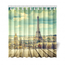 InterestPrint Wooden Table Eiffel Tower in Paris Custom Home Decor Polyester Fabric Shower Curtain Bathroom Sets