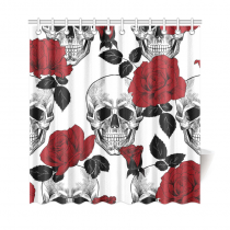 InterestPrint Sugar Skull Red Rose Custom Home Decor Polyester Fabric Shower Curtain Bathroom Sets