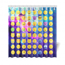 InterestPrint Emoji Galaxy Universe Space Nebula Cloud Colorful Home Decor Polyester Fabric Shower Curtain Bathroom Sets