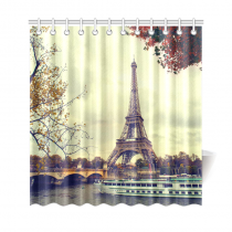 InterestPrint Paris Eiffel Tower Maple Leaves Tree Custom Home Decor Polyester Fabric Shower Curtain Bathroom Sets