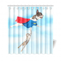 InterestPrint Funny Super Hero Dog Kitten Cat Flying Blue Sky Cloud Decor Polyester Fabric Shower Curtain Bathroom Sets