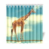 InterestPrint African Animal Home Decor,Funny Giraffe Walking on the Rope Sky Cloud Polyester Fabric Shower Curtain Bathroom Sets