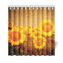 InterestPrint Vintage Sunflowers Artworks Polyester Fabric Shower Curtain Bathroom Sets Home Decor