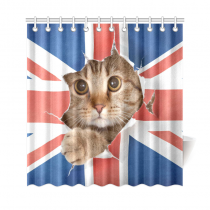 InterestPrint UK Union Jack Cat Kitten Polyester Fabric Shower Curtain Bathroom Sets Home Decor