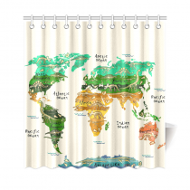 InterestPrint World Map Home Decor, Dinosaurs Polyester Fabric Shower Curtain Bathroom Sets