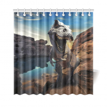 InterestPrint Dinosaurs Mountain Rock Polyester Fabric Shower Curtain Bathroom Sets Home Decor