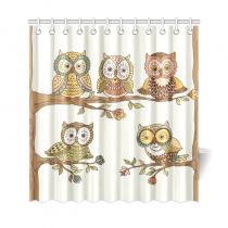 InterestPrint Cute Owls on a Tree Branch Polyester Fabric Shower Curtain Bathroom Sets Home Decor