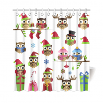 InterestPrint Christmas Home Decor, Lovely Cartoon Night Owls Polyester Fabric Shower Curtain Bathroom Sets