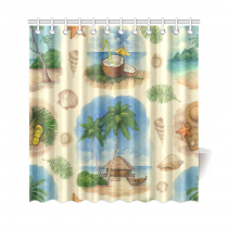InterestPrint Tropical Beach Home Decor, Summer Palm Tree Coconut Watercolor Polyester Fabric Shower Curtain Bathroom Sets