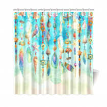 InterestPrint Watercolor Jewellery Seashells Beads Feath Polyester Fabric Shower Curtain Bathroom Sets Home Decor