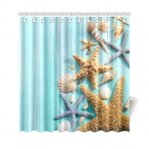 InterestPrint Seashell Home Decor, Sand Starfish Wooden Back Polyester Fabric Shower Curtain Bathroom Sets