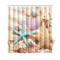 InterestPrint Summer Beach Home Decor, Seashell Starfish Sand Polyester Fabric Shower Curtain Bathroom Sets
