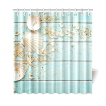 InterestPrint Seashell Home Decor, Sand Starfish Blue Wooden Back Polyester Fabric Shower Curtain Bathroom Sets