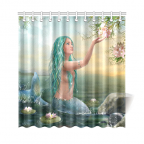 InterestPrint Sunrise Ocean Home Decor, Princess Fantasy Mermaid Polyester Fabric Shower Curtain Bathroom Sets