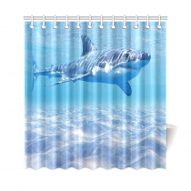 InterestPrint Underwater World Home Decor, Sea Ocean Shark Polyester Fabric Shower Curtain Bathroom Sets