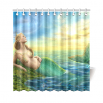 InterestPrint Sunset Ocean Home Decor, Princess Fantasy Mermaid Polyester Fabric Shower Curtain Bathroom Sets